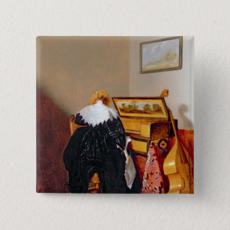 Lady seated by a Virginal Pinback Button