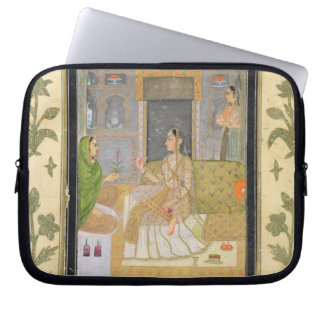 Lady seated in a Pavilion with attendants, from th Laptop Computer Sleeves