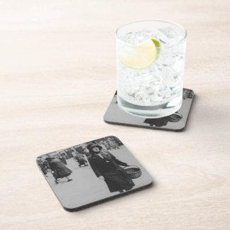 Lady Shopping Black White Hard Plastic Coasters