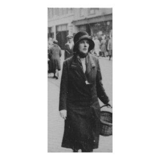 Lady Shopping Vintage Black White Image Rack Card
