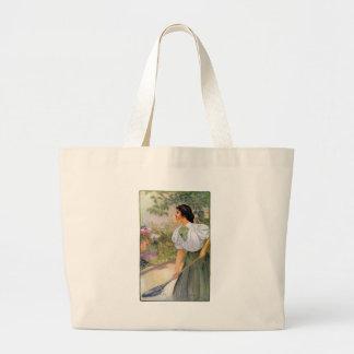 Lady Shoveling Dirt in Flower Bed Tote Bag