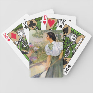 Lady Shoveling Dirt in Flower Bed Bicycle Playing Cards