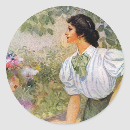 Lady Shoveling Dirt in Flower Bed Classic Round Sticker