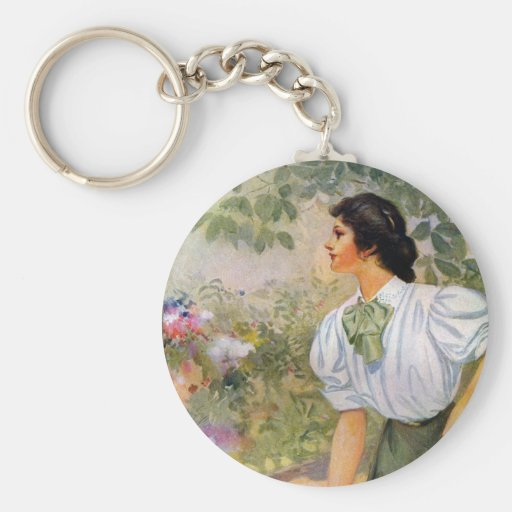 Lady Shoveling Dirt in Flower Bed Basic Round Button Keychain
