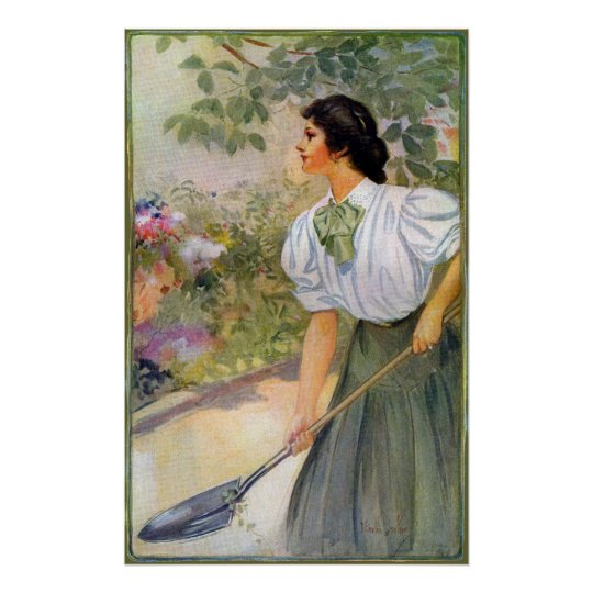 Lady Shoveling Dirt in Flower Bed Poster