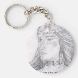 Lady Sioux Basic Round Button Keychain