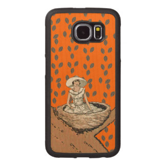 Lady Sitting in Eggs in Bird Nest in Tree Leaves Wood Phone Case
