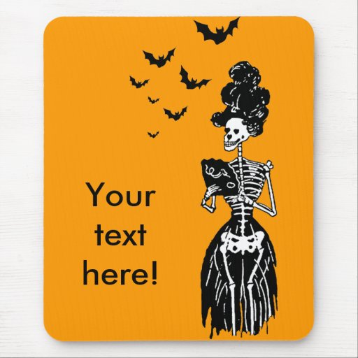 Lady Skelly with Bats Mouse Pad