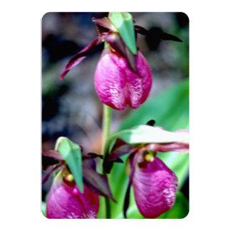 Lady Slipper, delicate pink, rose, magenta Blossom Invitation