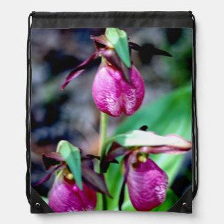 Lady Slipper, delicate pink, rose, magenta Blossom Drawstring Bags