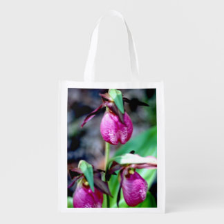 Lady Slipper, delicate pink, rose, magenta Blossom Market Tote