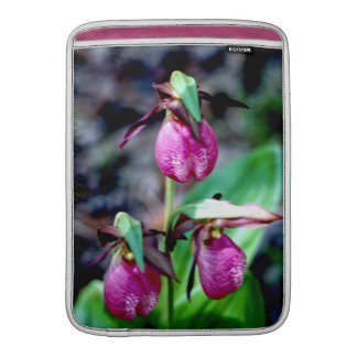 Lady Slipper I, Pink Green Garden Delight MacBook Air Sleeves