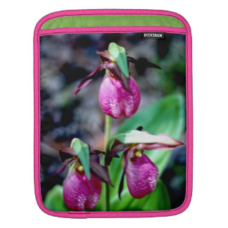 Lady Slipper I, Pink Green Garden Delight iPad Sleeve
