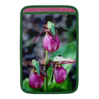 Lady Slipper I, Pink Green Garden Delight MacBook Sleeves
