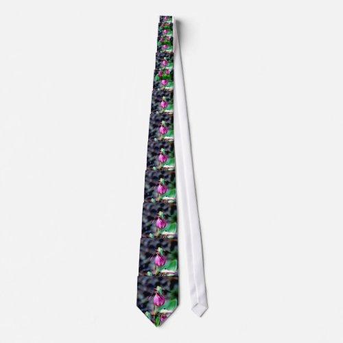 Lady Slipper I, Pink Green Garden Delight Tie