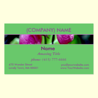 Lady Slipper I, Pink Green Garden Wild Flower Double-Sided Standard Business Cards (Pack Of 100)