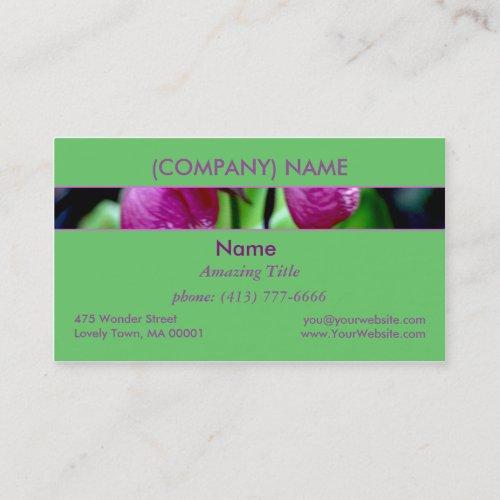 Lady Slipper I, Pink Green Garden Wild Flower Business Card