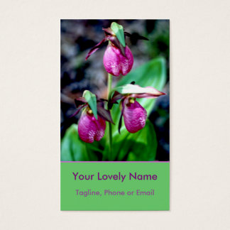 Lady Slipper I, Pink Magenta Green Garden Delight Business Card