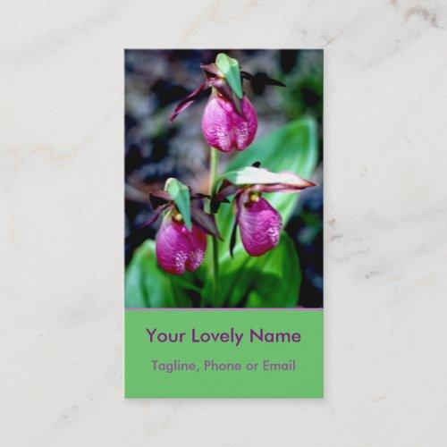 Lady Slipper I, Pink Magenta Green Garden Delight Business Card