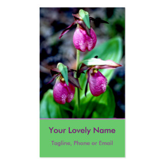 Lady Slipper I, Pink Magenta Green Garden Delight Double-Sided Standard Business Cards (Pack Of 100)