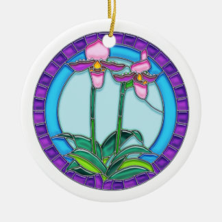 Lady Slipper Orchids in Circular Stained Glass Ceramic Ornament