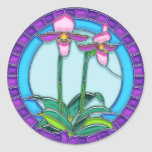 Lady Slipper Orchids in Circular Stained Glass Stickers