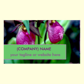 Lady Slipper, Pink Green Garden Delight Endangered Double-Sided Standard Business Cards (Pack Of 100)
