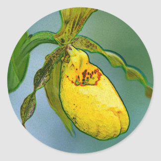 Lady slippers classic round sticker