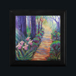 "Lady Slippers on the Path Gift Box<br><div class=""desc"">An original colorful contemporary impressionist painting of Lady Slippers along a forest path. Infused with spiritual light,  the Lady Slipper symbolizes walking your path with spiritual purpose and integrity.</div>"
