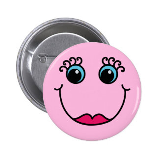 Lady Smiley Face Light Pink Pinback Button