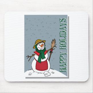 Lady Snowman Illustration Christmas Mouse Pad