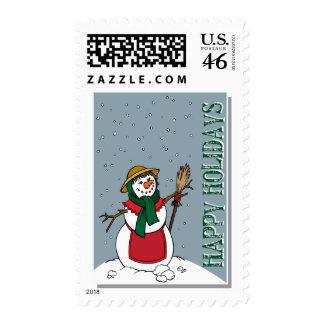 Lady Snowman Illustration Christmas Postage