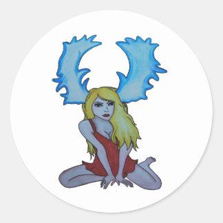 lady stag classic round sticker