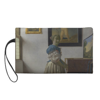 Lady Standing at a Virginal by Johannes Vermeer Wristlet Clutch