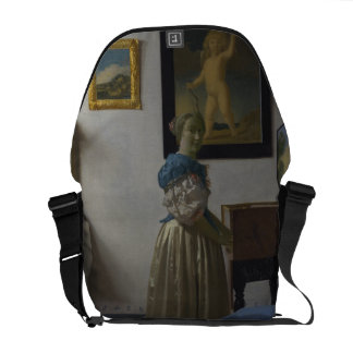 Lady Standing at a Virginal by Johannes Vermeer Courier Bag