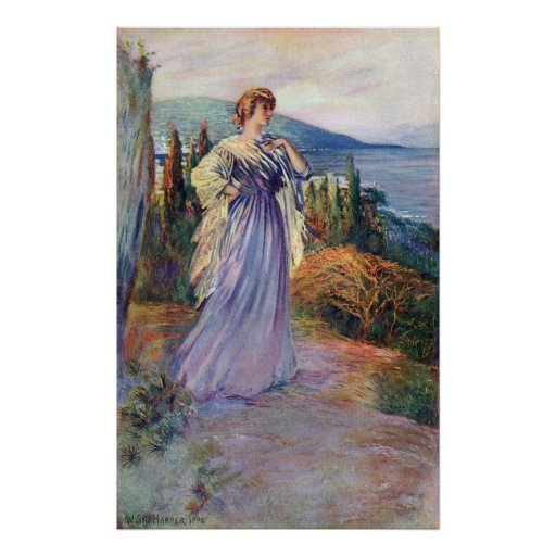 Lady Standing High Above the Sea Poster