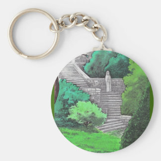 Lady statue in the garden of an Italian park Basic Round Button Keychain