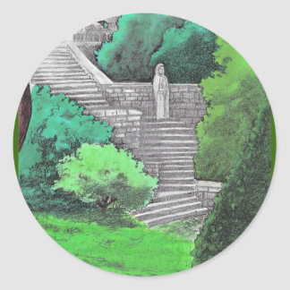Lady statue in the garden of an Italian park Classic Round Sticker