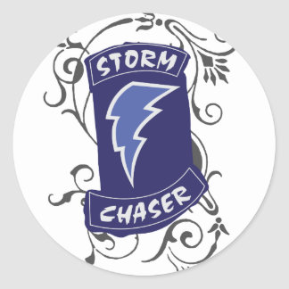 Lady Storm Chaser Classic Round Sticker