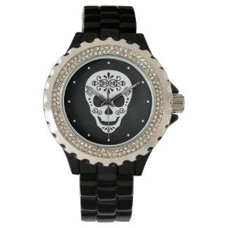 Lady Sugar Skull by Leslie Peppers Wrist Watch