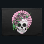 """Lady Sugar Skull Placemat<br><div class=""""desc"""">Lady sugar skull with roses in hues of pink is a beautiful Dia de los Muertos skull design the ladies will love.</div>"""