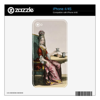 Lady Taking Coffee fashion plate c 1695 engravi iPhone 4 Decals