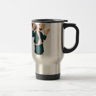Lady talking on phone 15 oz stainless steel travel mug