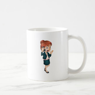 Lady talking on phone classic white coffee mug