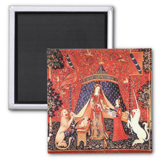 """""""Lady & the Unicorn"""" 2 Inch Square Magnet"""