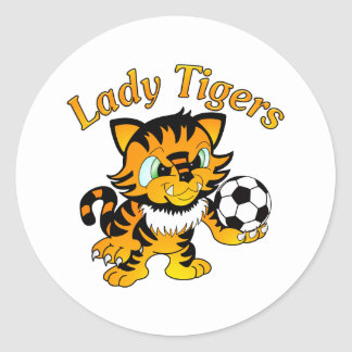 Lady Tigers Soccer Classic Round Sticker