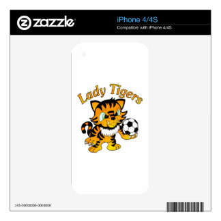 Lady Tigers Soccer Decals For iPhone 4