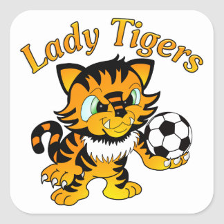 Lady Tigers Soccer Square Sticker