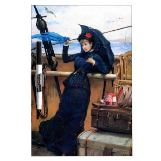 Lady Travelling by Sea painting Dry Erase Board
