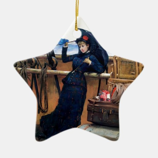 Lady Travelling by Sea painting Double-Sided Star Ceramic Christmas Ornament